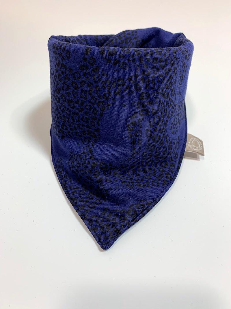 Blauwe slab bandana sjaal met panter print