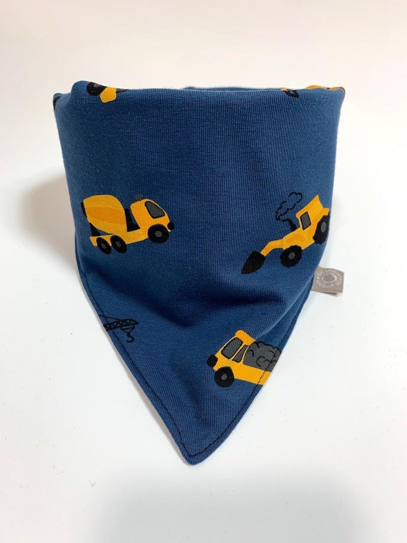 Slab bandana in jeans blauw met okergele machines