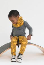 Baggy broek in okergeel met panter print