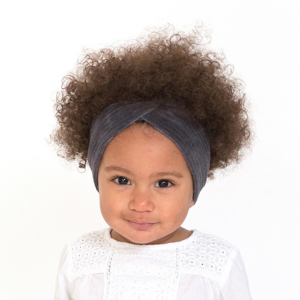 Antraciet turban haarband van brede rib