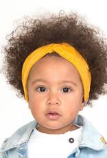 Oker turban haarband van brede rib