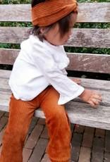 Flared broek van brede rib in bruin