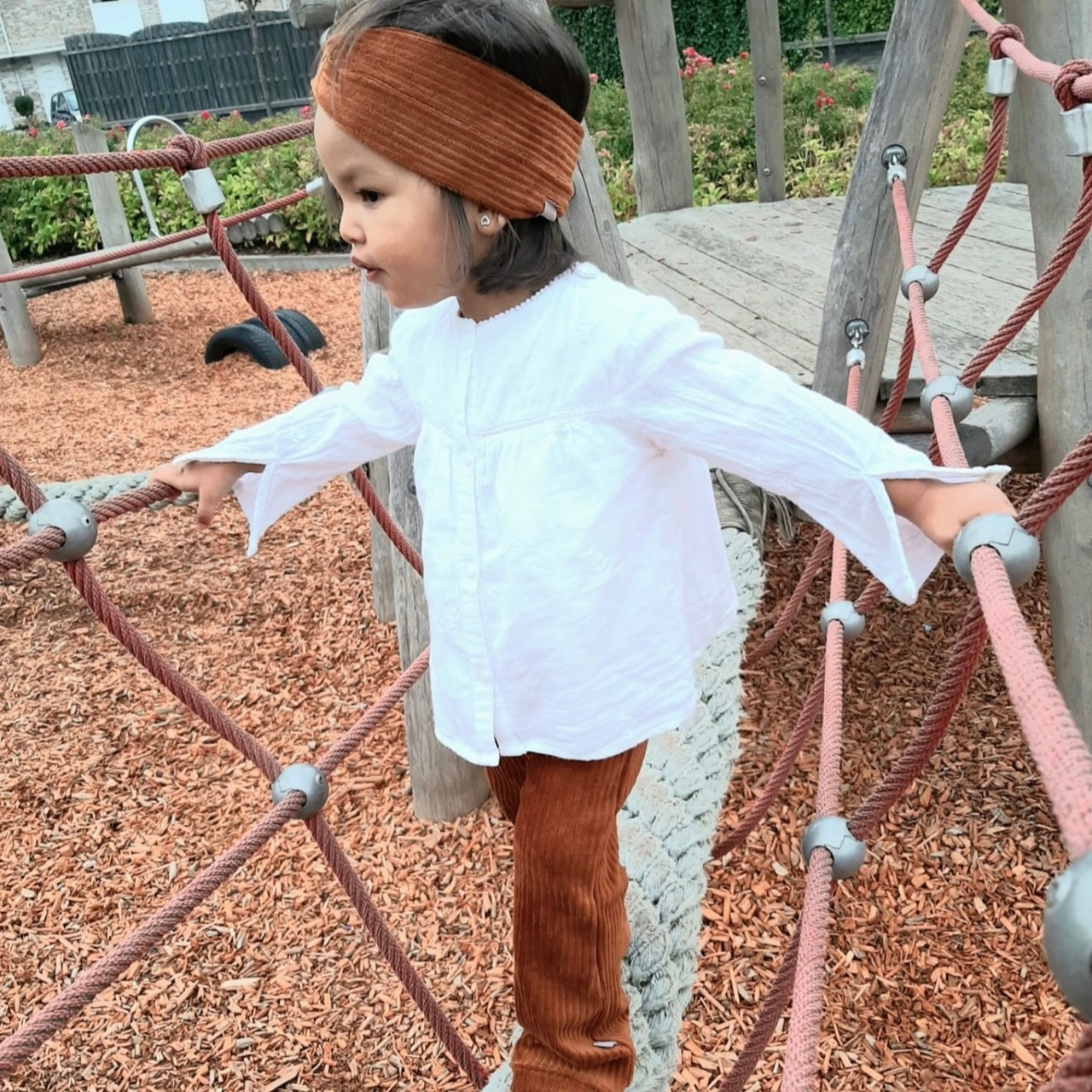 Bruine turban haarband van brede rib