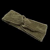 Flared broek van brede rib in vintage green