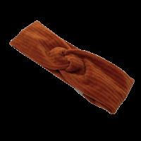 Roestbruine turban haarband van brede rib