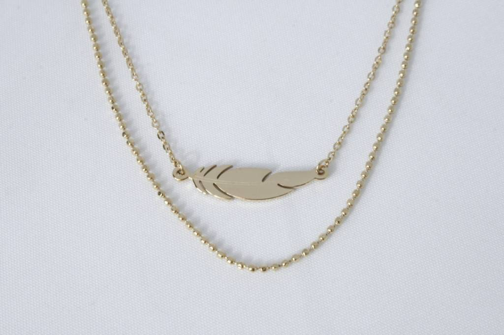 ZAG Bijoux ZAG Bijoux enkelbandje - Liggende veer goud