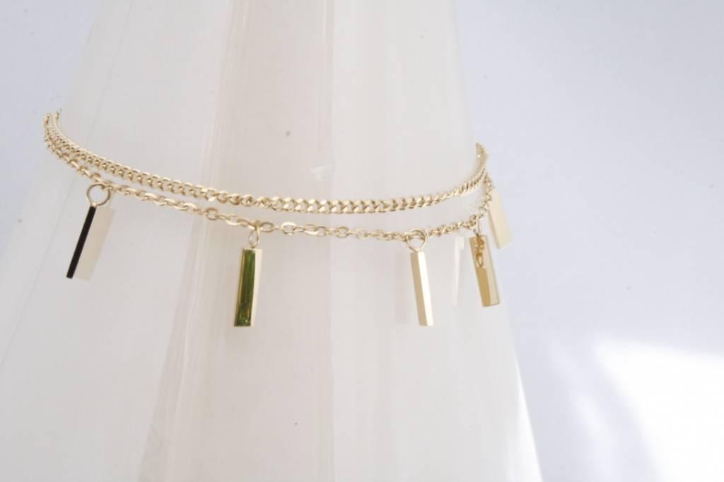 ZAG Bijoux ZAG Bijoux - Armband met losse rechthoekjes goud