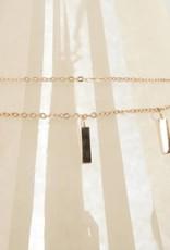 ZAG Bijoux ZAG Bijoux tweelaagse ketting - Rechthoekjes rose goud