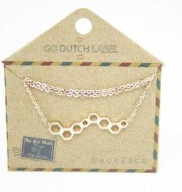 Go Dutch Label Kettingen Go Dutch Label - Honingraat rose goud