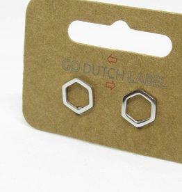 Go Dutch Label Oorbellen Go Dutch Label - Open zeshoek zilver