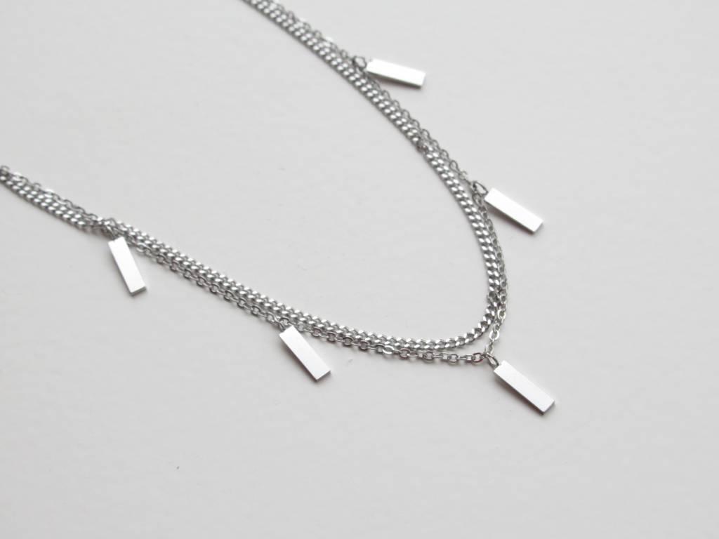 ZAG Bijoux ZAG Bijoux enkelbandje - Rechthoekjes zilver