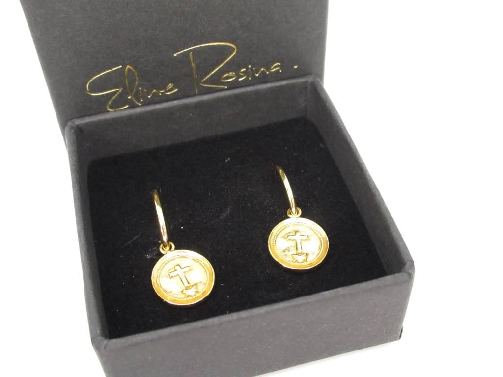 Eline Rosina Eline Rosina oorbellen - Cross coins hoops star coin sterling gold