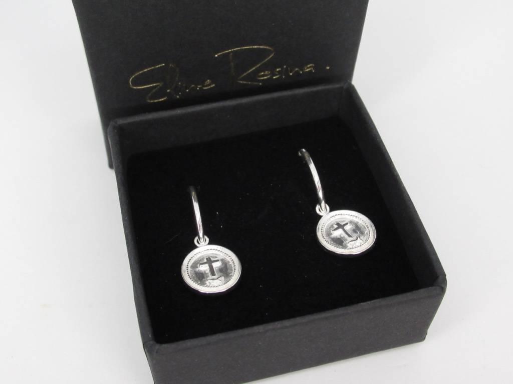 Eline Rosina Eline Rosina oorbellen - Cross coins hoops star coin sterling silver