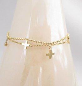 ZAG Bijoux Dubbele armband ZAG Bijoux - Multi kruisjes goud