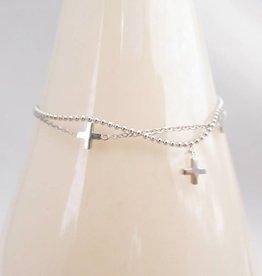 ZAG Bijoux Dubbele armband ZAG Bijoux - Multi kruisjes zilver