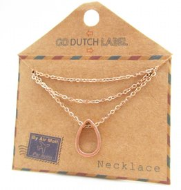 Go Dutch Label Kettingen Go Dutch Label - Druppel rose goud