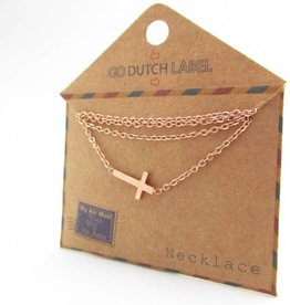 Go Dutch Label Kettingen Go Dutch Label - Kruisje rose goud