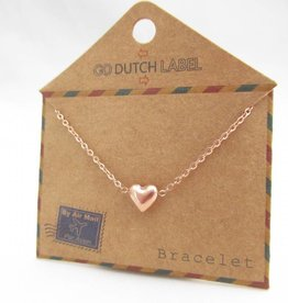 Go Dutch Label Armbanden Go Dutch Label - Hartje (3D) rose goud