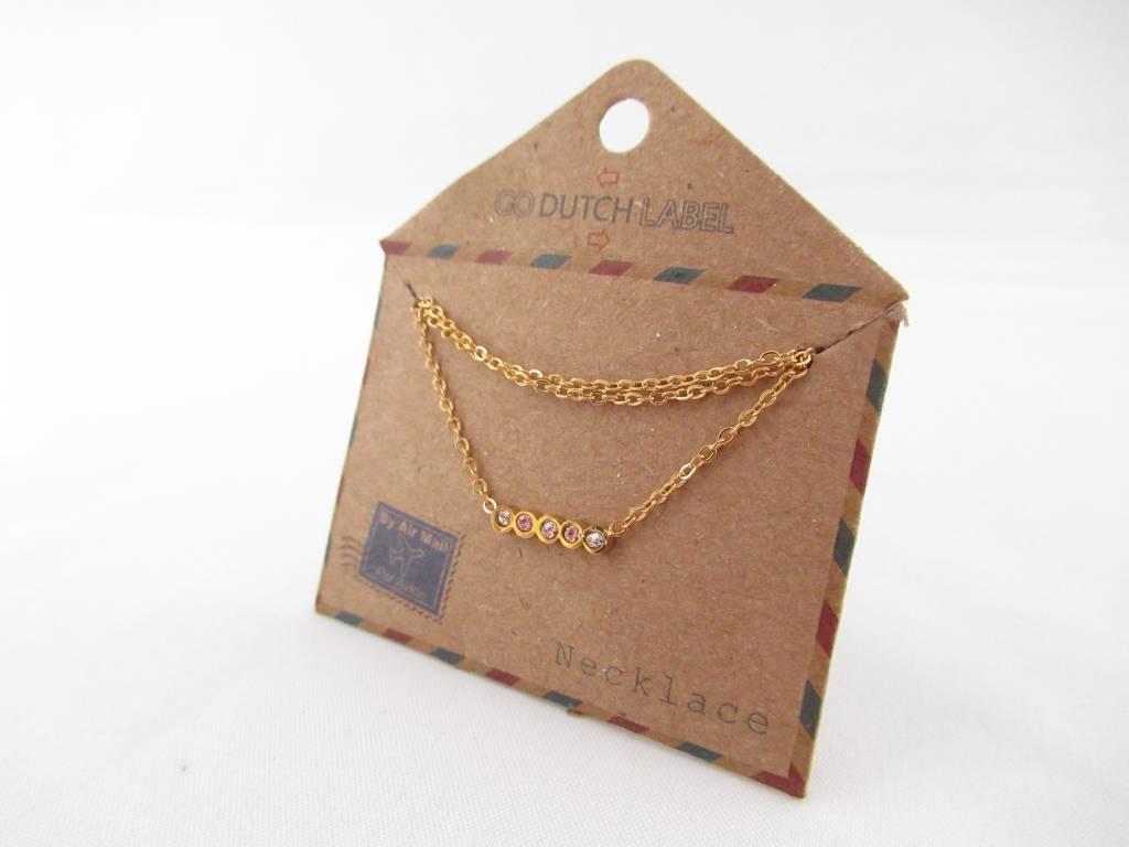 Go Dutch Label Kettingen Go Dutch Label - swarovski goud