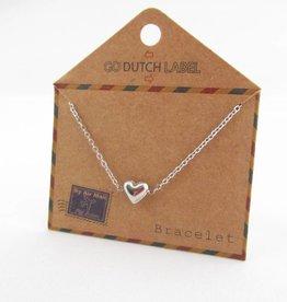 Go Dutch Label Armbanden Go Dutch Label - Hartje (3D) zilver