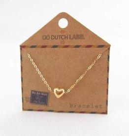 Go Dutch Label Armbanden Go Dutch Label - Hartje (3D) goud