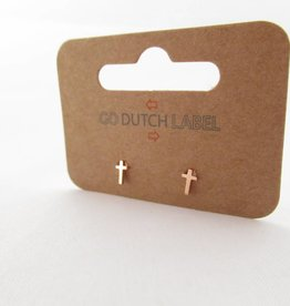 Go Dutch Label Oorbellen Go Dutch Label - Kruisje rose goud