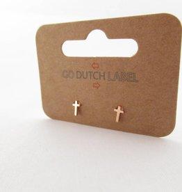Go Dutch Label Oorbellen Go Dutch Label - Kruisje rose goud