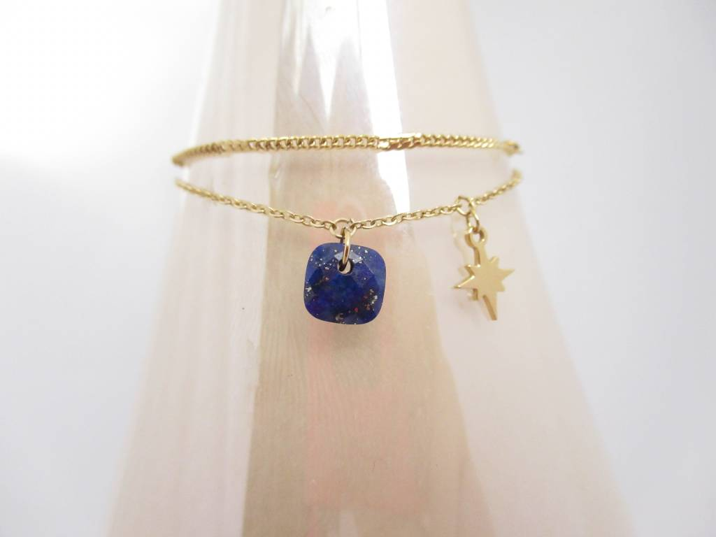 Zag Bijoux Sieraden Dubbele Armband North Star Donkerblauwgoud
