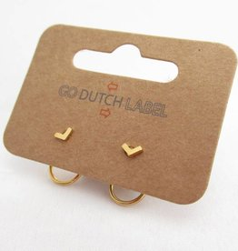 Go Dutch Label Oorbellen Go Dutch Label - Dubbele sluiting V rondje goud