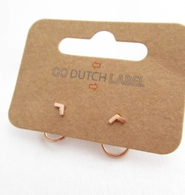 Go Dutch Label Oorbellen Go Dutch Label - Dubbele sluiting V rondje rose goud