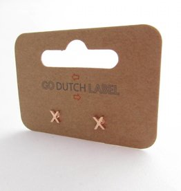 Go Dutch Label Oorbellen Go Dutch Label - X rose goud