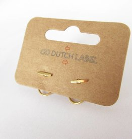 Go Dutch Label Oorbellen Go Dutch Label - Dubbele sluiting staafje goud