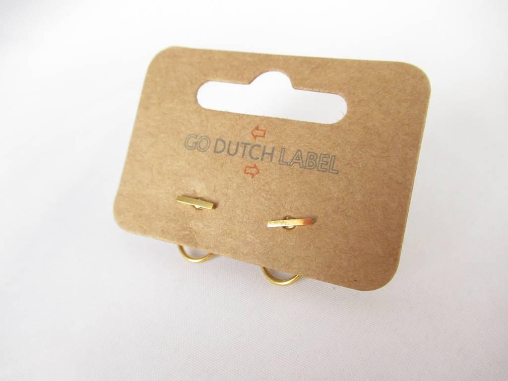 Go Dutch Label Go Dutch Label oorbellen - Dubbele sluiting staafje goud