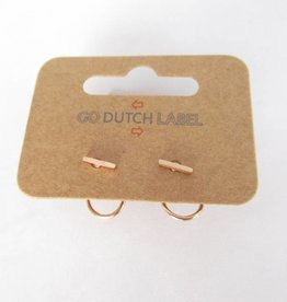 Go Dutch Label Oorbellen Go Dutch Label - Dubbele sluiting staafje rose goud
