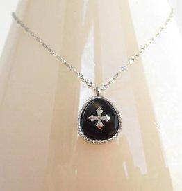 ZAG Bijoux ZAG Bijoux ketting - Black silver drop stone