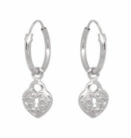 Eline Rosina Eline Rosina oorbellen - Heart lock hoops in sterling silver