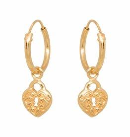 Eline Rosina Eline Rosina oorbellen - Heart lock hoops in gold