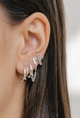 Eline Rosina Eline Rosina oorbellen - Five stoned black zirconia hoops in gold