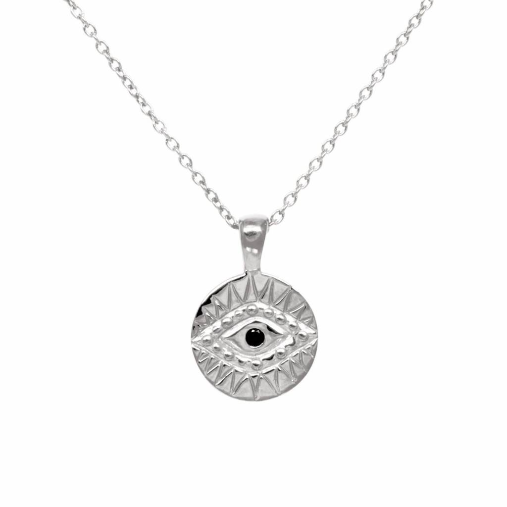 Eline Rosina Eline Rosina ketting - Black zirconia eye necklace in gold plated sterling silver