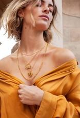 Eline Rosina Eline Rosina ketting - Black zirconia eye necklace in gold plated sterling silver