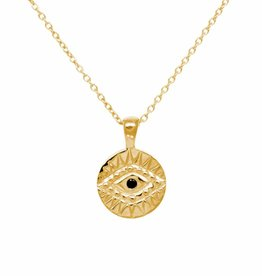 Eline Rosina Eline Rosina ketting - Black zirconia eye necklace in gold