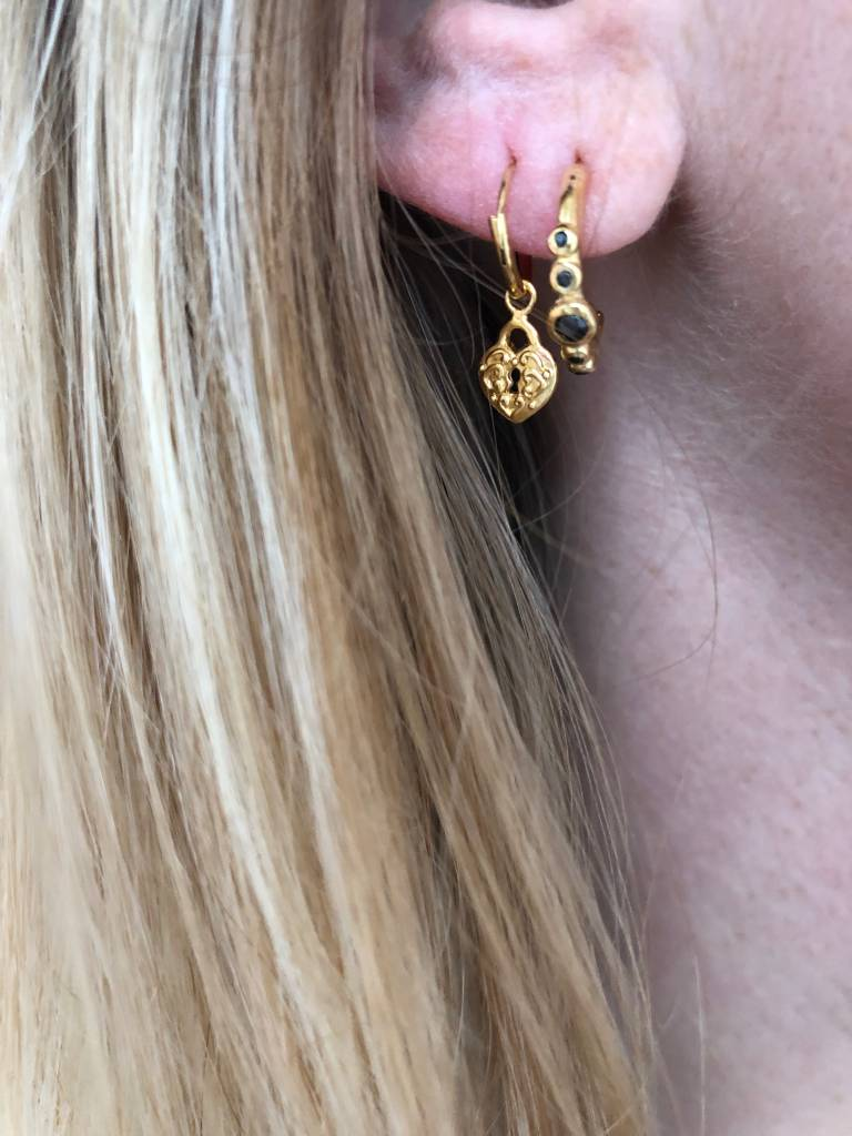 Eline Rosina Eline Rosina oorbellen - Five stoned black zirconia hoops in gold