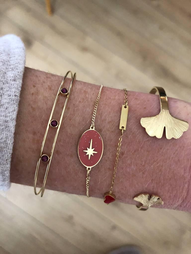 ZAG Bijoux Armband ZAG Bijoux - Slavenarmband paarse beads goud