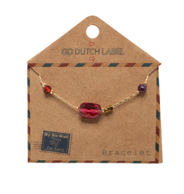 Go Dutch Label Armbanden Go Dutch Label - Fuschia beads goud