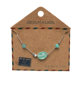 Go Dutch Label Armbanden Go Dutch Label - Aqua beads zilver