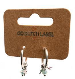 Go Dutch Label Oorbellen Go Dutch Label - Stars & Beads mint  zilver