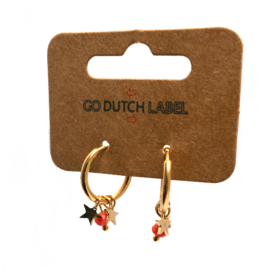Go Dutch Label Oorbellen Go Dutch Label - Stars & Beads goud  coral