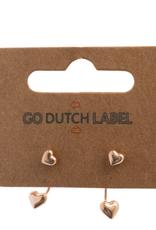 Go Dutch Label Go Dutch Label oorbellen - Dubbele sluiting hartje  rose goud