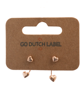 Go Dutch Label Go Dutch Label oorbellen - Dubbele sluiting hartje  rose goud