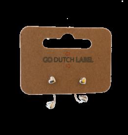 Go Dutch Label Go Dutch Label oorbellen - Dubbele sluiting hartje  zilver